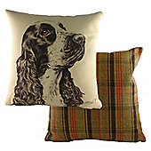 Evans Lichfield WaggyDogz Cocker Spaniel Filled Cushion with Country Check
