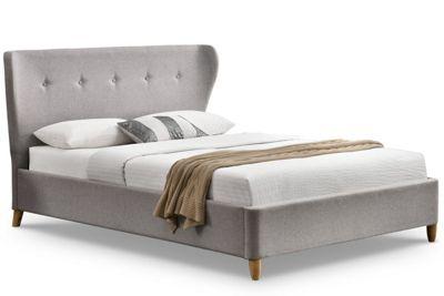 Kensington Light Grey Fabric Winged Scandi Style Bed Frame
