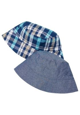 F&F 2 Pack of Checked and Chambray Fisherman Hats Blue 1-2 years