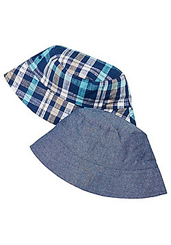 F&F 2 Pack of Checked and Chambray Fisherman Hats - Blue