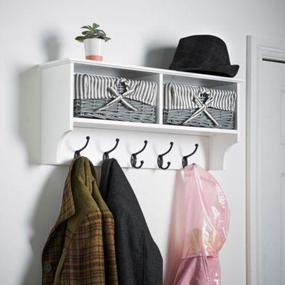 VonHaus Wall Hanging Hall Rack White & Grey 5-Hook Coat Rack With 2 Wicker Baskets