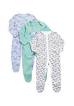 F&F 3 Pack of Geometric and Cloud Print Sleepsuits - Multi
