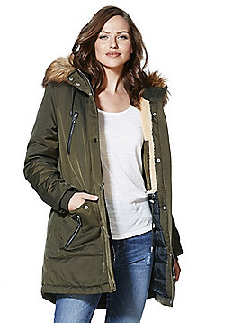 F&F Padded Hooded Shower Resistant Parka - Khaki
