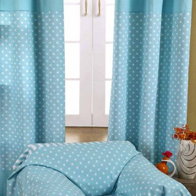 Homescapes Cotton Stars Blue Ready Made Eyelet Curtain Pair, 137 x 228 cm Drop