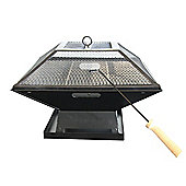 Square Metal Outdoor Fire Pit & BBQ Double