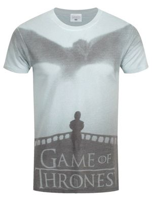 Game of Thrones Dragon And Tyrion Sublimation Print Men's GoT T-shirt, White
