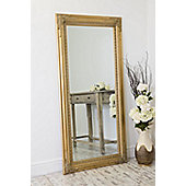 Large Gold Antique Style Wall Mirror Wood 5Ft10 X 2Ft10 178cm X 87cm