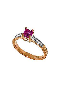 QP Jewellers Diamond & Pink Topaz Ornate Gemstone Ring in 14K Rose Gold
