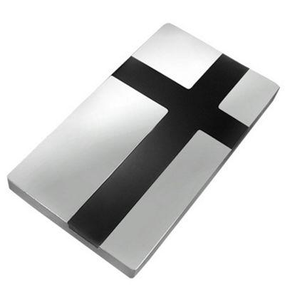 Urban Male Modern Stainless Steel & Black Resin Men's Money Clip