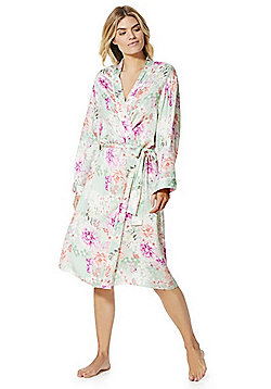 F&F Floral Print Dressing Gown - Multi green
