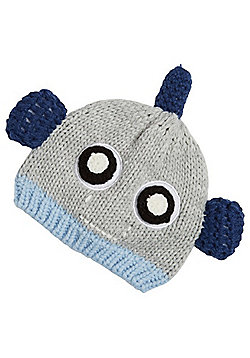 F&F Robot Face Knitted Hat - Grey & Blue