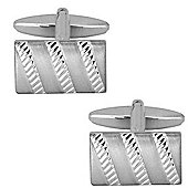 Dual Finish Striped Rectangle Cufflinks