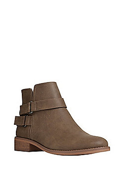F&F Double Buckle Strap Ankle Boots - Taupe