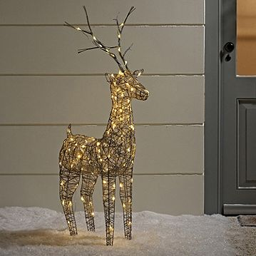 Large Grey Wicker Light Up LED Christmas Reindeer for Indoor Outdoor Use Catalogue Number: 105-7523