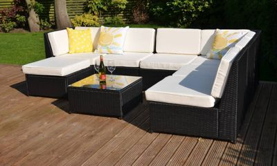 LaManga Garden Rattan Corner Sofa Set with Table Black