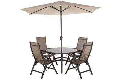 Royalcraft Sorrento 6pc Taupe Round Deluxe Recliner Garden Set