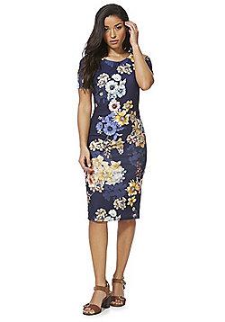 Feverfish Floral Bodycon Dress - Navy Multi
