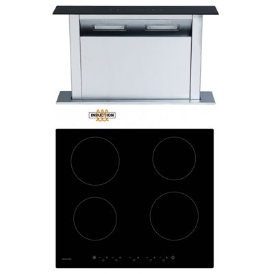 Cookology CIT600 Induction Hob & 60cm CDD600BK Downdraft Extractor Fan Pack