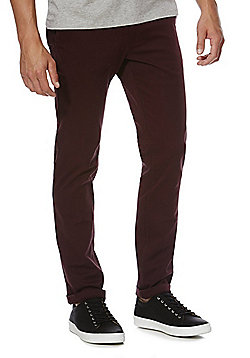F&F Stretch Slim Leg Chinos - Burgundy