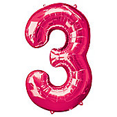 Pink Number 3 Balloon - 34 inch Foil