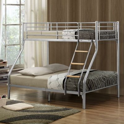 Happy Beds Nexus Metal Kids Triple Sleeper Bunk Bed with 2 Pocket Spring Mattresses - Silver - 4ft6 Double