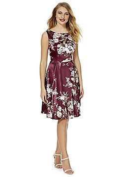 Feverfish Floral Print Satin Flared Dress - Burgundy
