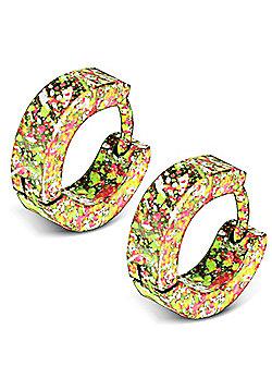 Urban Male Yellow Splatter Stainless Steel Huggie Hoop Earrings