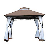 Outsunny 3 x 3m Patio Metal Gazebo Square Outdoor Party Wedding Canopy Shelter w/ Mesh - Brown