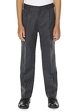 F&F School Boys Pleat Reinforced Knee Trousers - Light grey