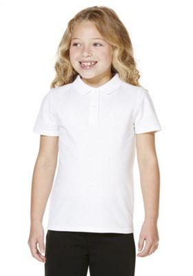 """F&F School 2 Pack of Girls Teflon EcoElite""""™ Polo Shirts with As New Technology White 5-6 years"""
