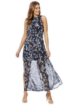 Mela London Leaf Print High Neck Maxi Dress Blue 16