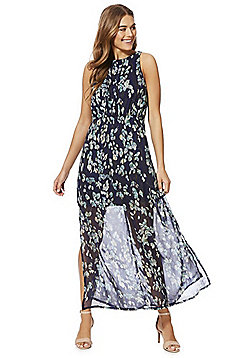 Mela London Leaf Print High Neck Maxi Dress - Blue