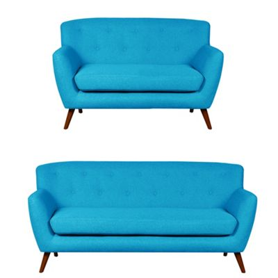 Sofa Collection Nashville Fabric 3+2 Seat Sofa - Teal