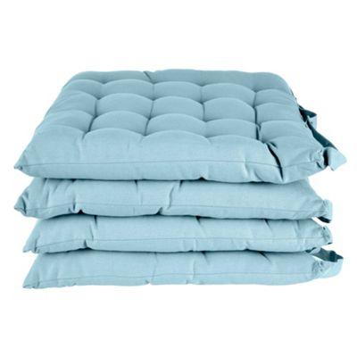Homescapes Light Blue Plain Seat Pad with Straps 100% Cotton 40 x 40 cm, Set of 4