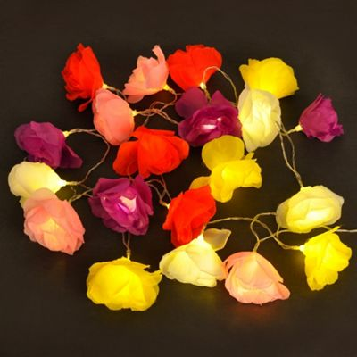 Set of 20 Battery Operated LED Flower String Fairy Lights, Multi Coloured