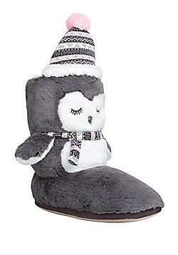 F&F Penguin Fleece Lined Bootie Slippers - Grey
