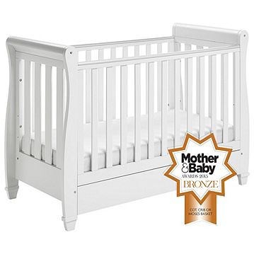 c979fcc34 Babymore Eva Sleigh Cot Bed Dropside with Drawer (White)