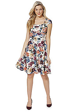 Feverfish Floral Fit and Flare Dress - Cream