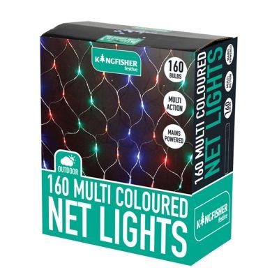 160 LED Multi Coloured Net Lights (Mains Powered) Christmas Xmas Decoration Lights