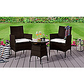 Comfy Living Rattan Bistro Garden Furniture Set - 2 Chairs and Coffee Table with Rain Cover in BROWN