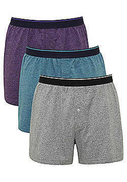 F&F 3 Pack of Marl Jersey Boxer Shorts with As New Technology - Multi
