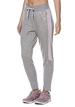 F&F Active Contrast Panel Zipped Ankle Joggers - Marl grey