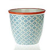 Patterned Plant Pot. Porcelain Indoor / Outdoor Flower Pot - Blue / Orange Print Design