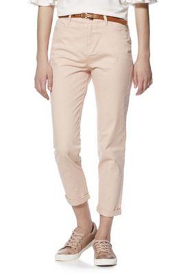 F&F Mid Rise Skinny Trousers with Belt Blush Pink 6 Regular leg