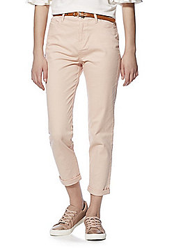 F&F Mid Rise Skinny Trousers with Belt - Blush Pink