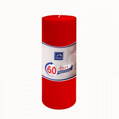 6 x Red Pillar Candle 2 x 7.2 Inch 60 Hours Burn Time