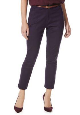 F&F Dotty Ankle Grazer Slim Leg Trousers with Belt 22 Navy