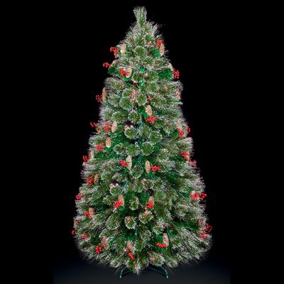 Premier 4ft Fibre Optic Colour Changing Snow Tipped Bottle Brush Christmas Tree with Berries & Cones