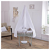 Clair de Lune 6-Piece Grey Waffle Moses Basket and Drape set, White