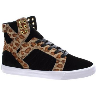 Supra Skytop Black/Cheetah/White Womens Shoe